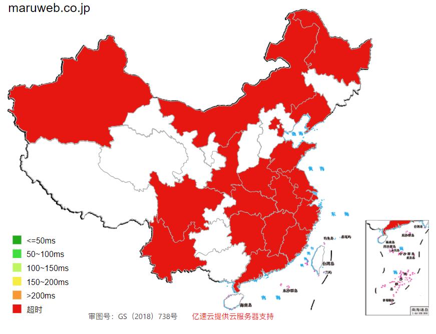 中国からアクセス速度マップ