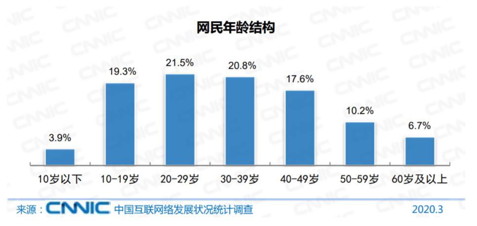 中国ネットユーザー年齢別割合