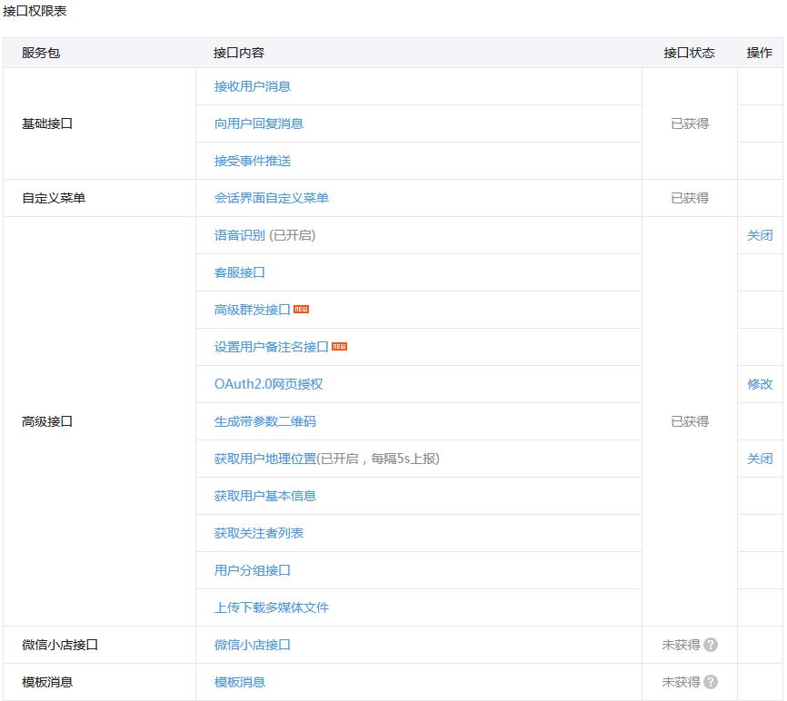 WeChat公式アカウントのAPI一覧